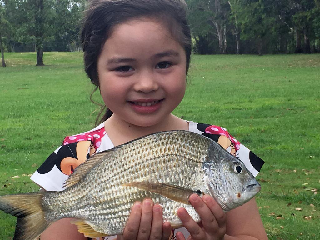 Chelsea Andrews with a solid bream caught in the Logan River.