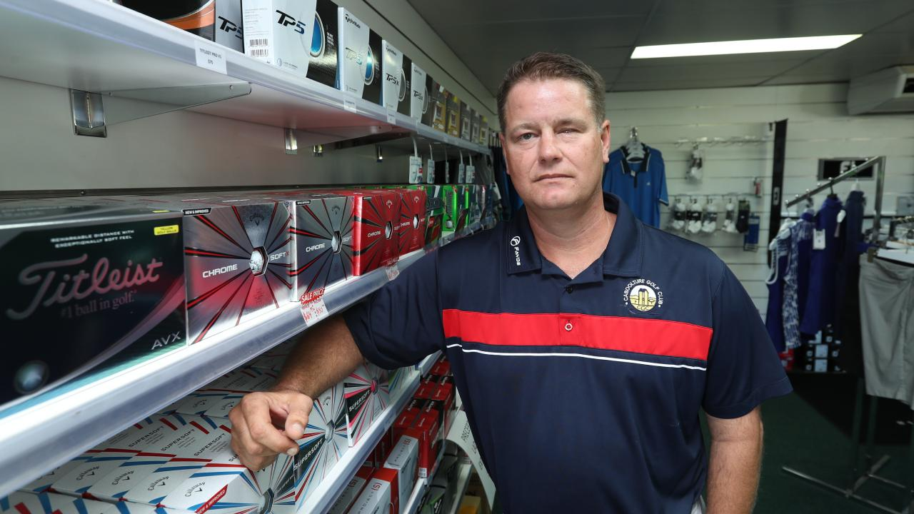 Greg Khan, a former chief operating officer of an energy company, has been working in a golf shop since his bashing. Picture: Annette Dew