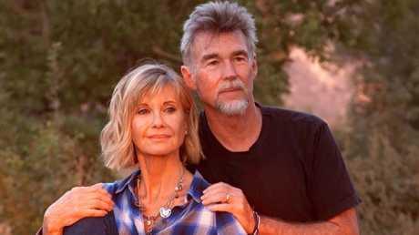 Olivia Newton-John with her husband John Easterling at their Santa Barbara ranch.