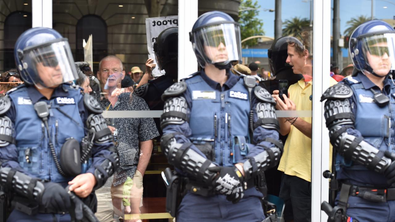 Police in Victoria will have a strong presence at a rally planned by far-right groups and promise to come down hard on anyone making trouble. Picture: Jake Nowakowski