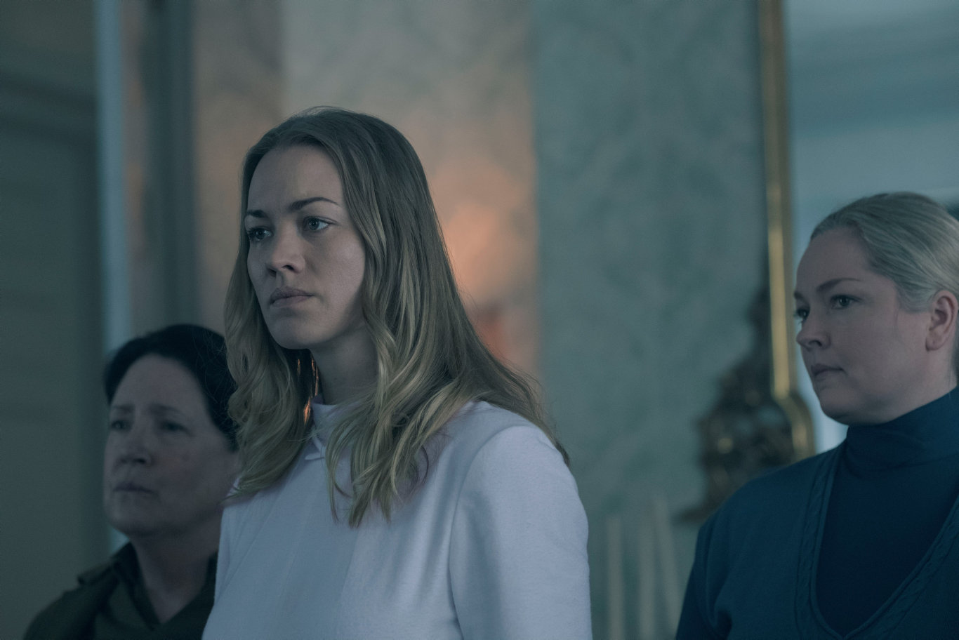 Yvonne Strahovski in a scene from season two of The Handmaid's Tale.