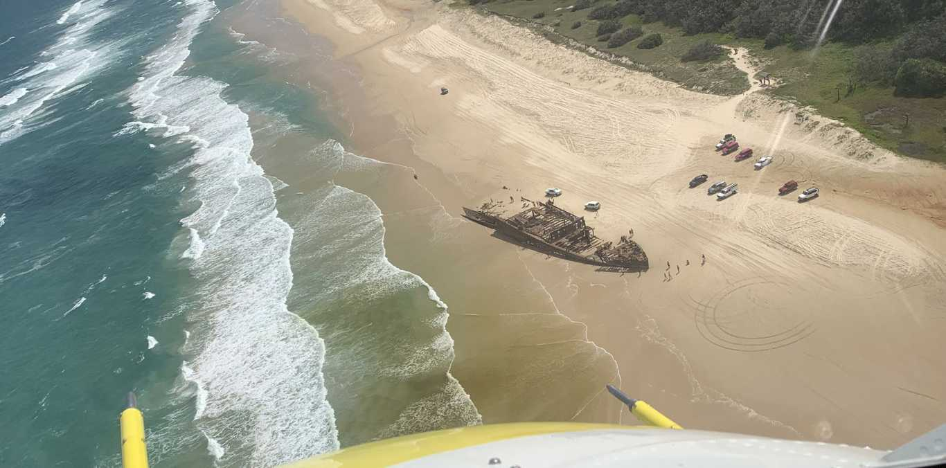 Footage from the Lifeflight helicopter that airlifted a man off Fraser Island after a suspected irukandji sting.