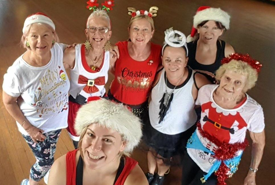 ZUMBA FAMILY: Instructor Jenna Page, front, with some of the members of her 15-20-strong classes before they work up a sweat partying themselves into shape pre-Christmas ... Trina Hammond, Di McConachy, Wendy Ford, Estela Nurthen, mum Carol Page, back, and Pat Roberts.