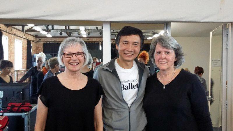 NEVER TOO OLD: Radiance Academy over-55s teacher Kerrie Jessup with Queensland Ballet artistic director Li Cunxin (Mao's Last dancer) and over-55s student Jenny Barnes.