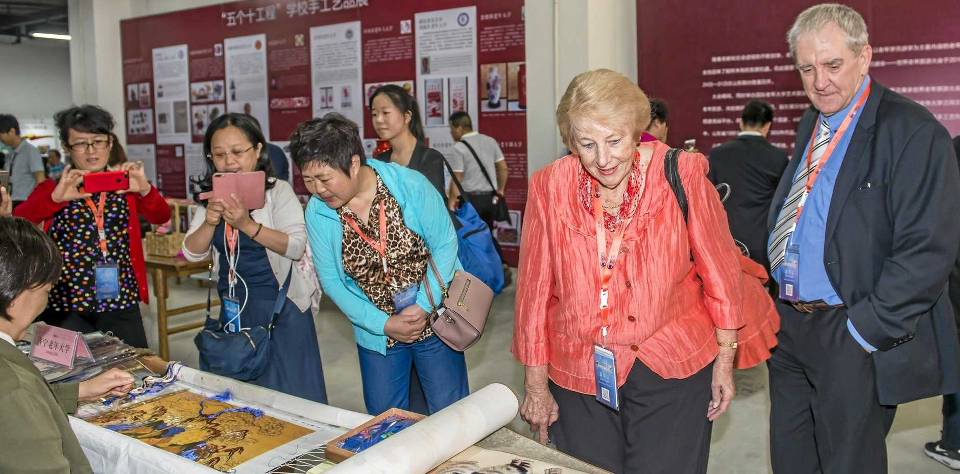CONNECTING: U3A Toowoomba's Rhonda and David Weston visited U3A Yantai, Shandong Provence Art Class on a study tour after the World Senior Tourism Congress, attended by 400 U3A members.