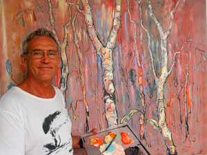 Artist in natural element for expo