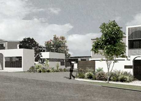Concept designs for townhouses under construction on the former Buderim Motor Inn site.