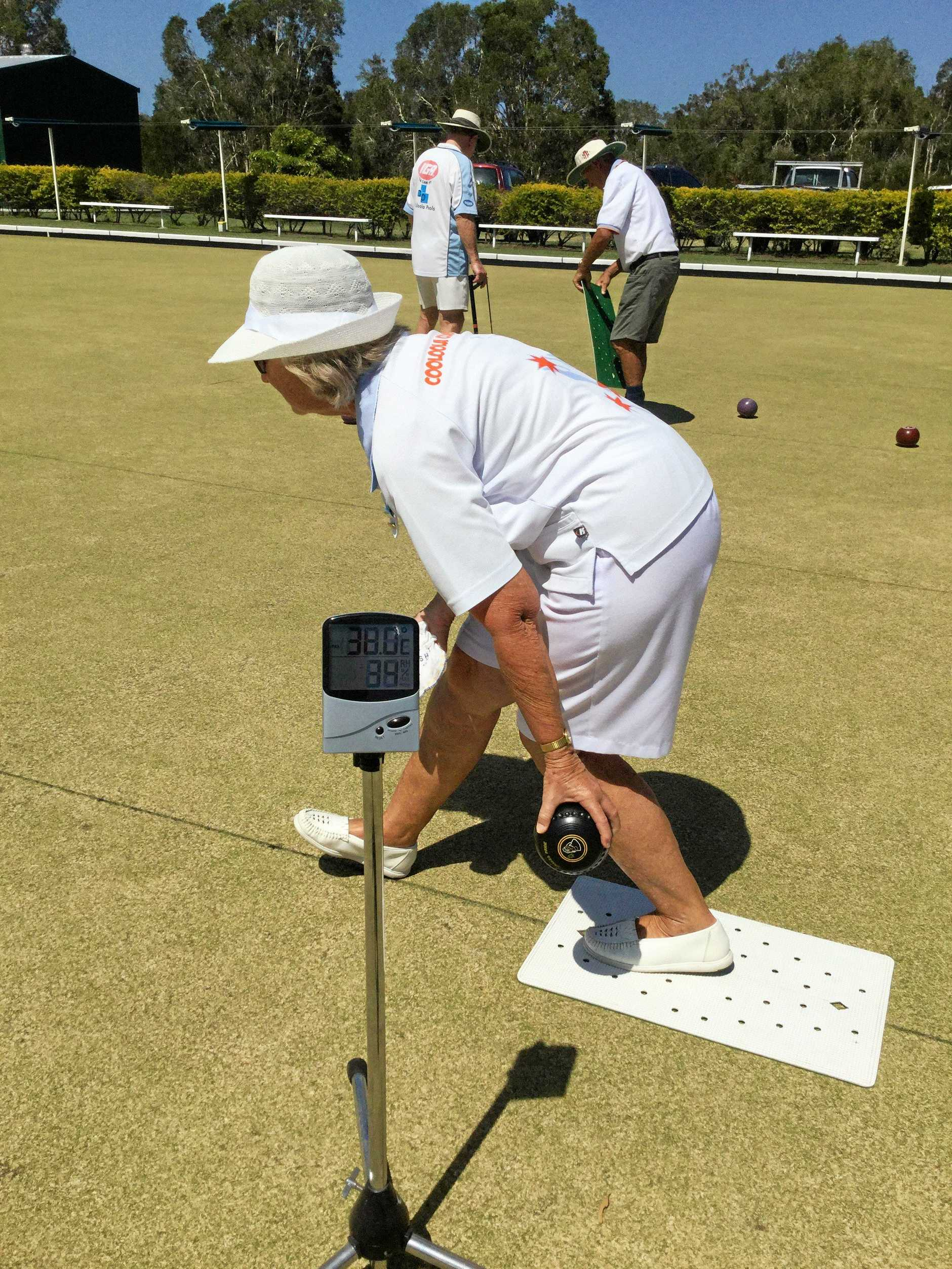 Cooloola Coast's Jean Heidemann was keeping an eye on the temperature gauge when bowling on Sunday.