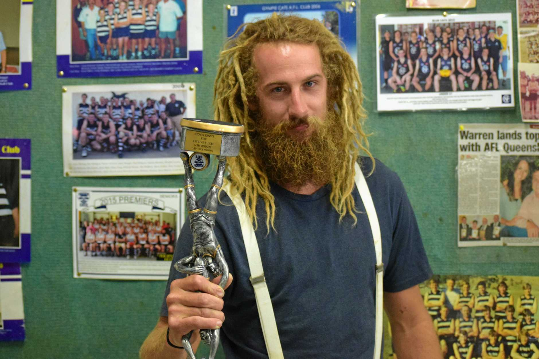 The Gympie Cats captain Lanze Magin was presented the Best and Fairest on Saturday night.