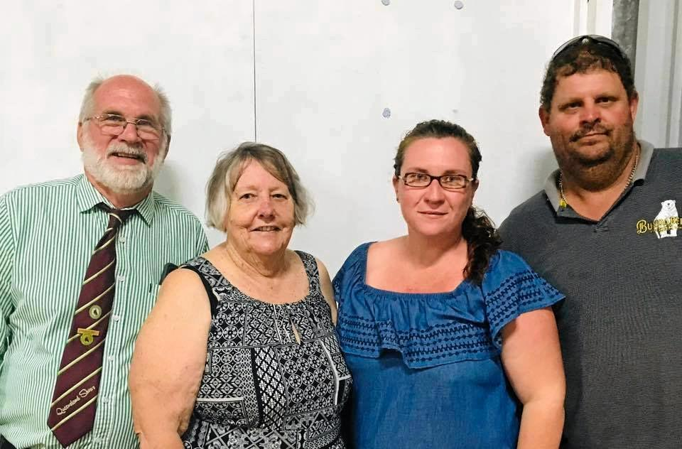 Peter Curtis, President of the Central Queensland sub chamber Qld Agricultural Shows, Beth Jepson, Show Secretary   Louise Barron Treasurer and Arthur Macdonald President of The Caves Progress and The Caves Show.