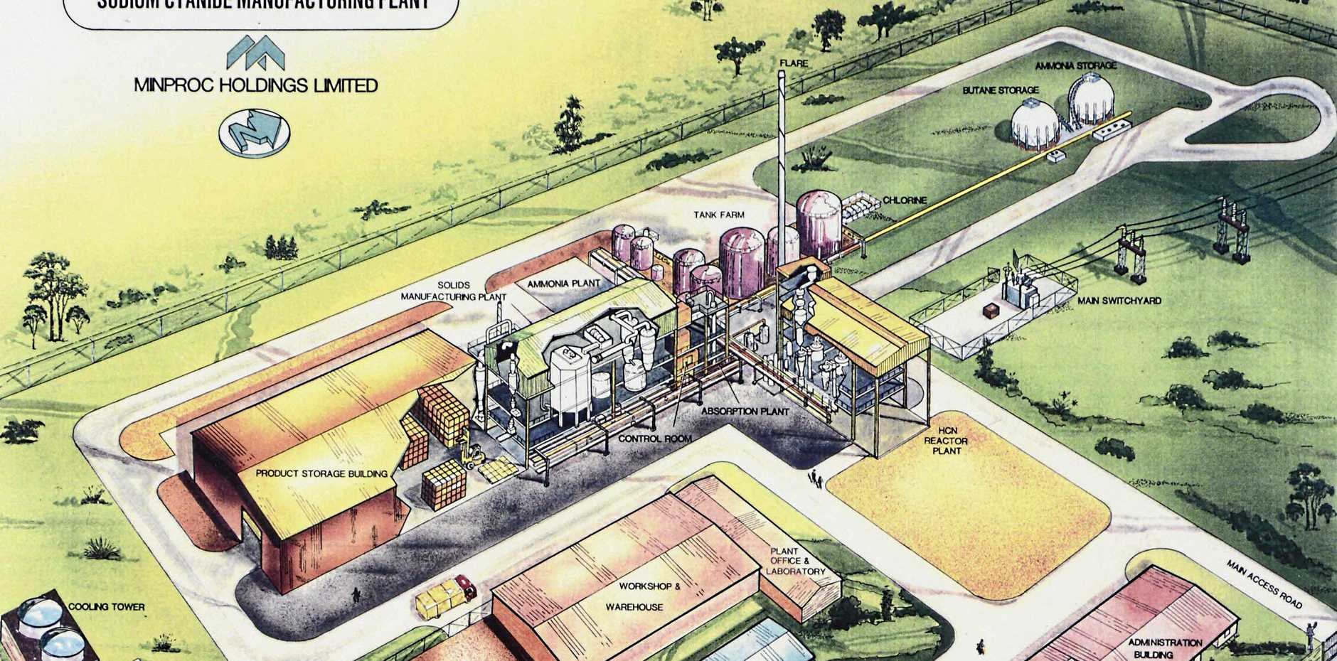 PLANS: This 3D depiction of Ticor's sodium cyanide plant in Gladstone was included in cabinet documents from 1988 released earlier this year.