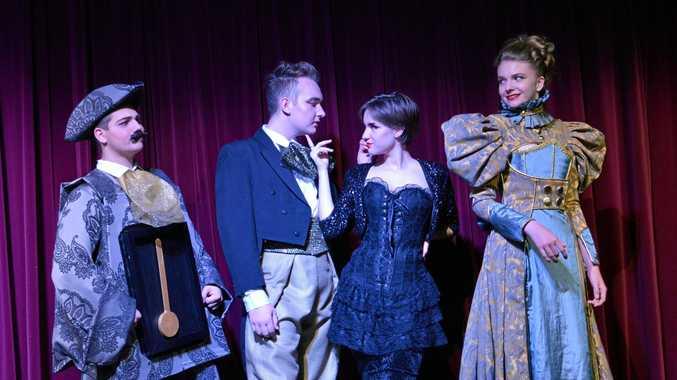 CAST: From left, Cogsworth (Liam Gatt), Lumiere (Sam Murphy), Babette (Kallista Fay) and Mdme De La Grande Bouche (Jade Felsch).