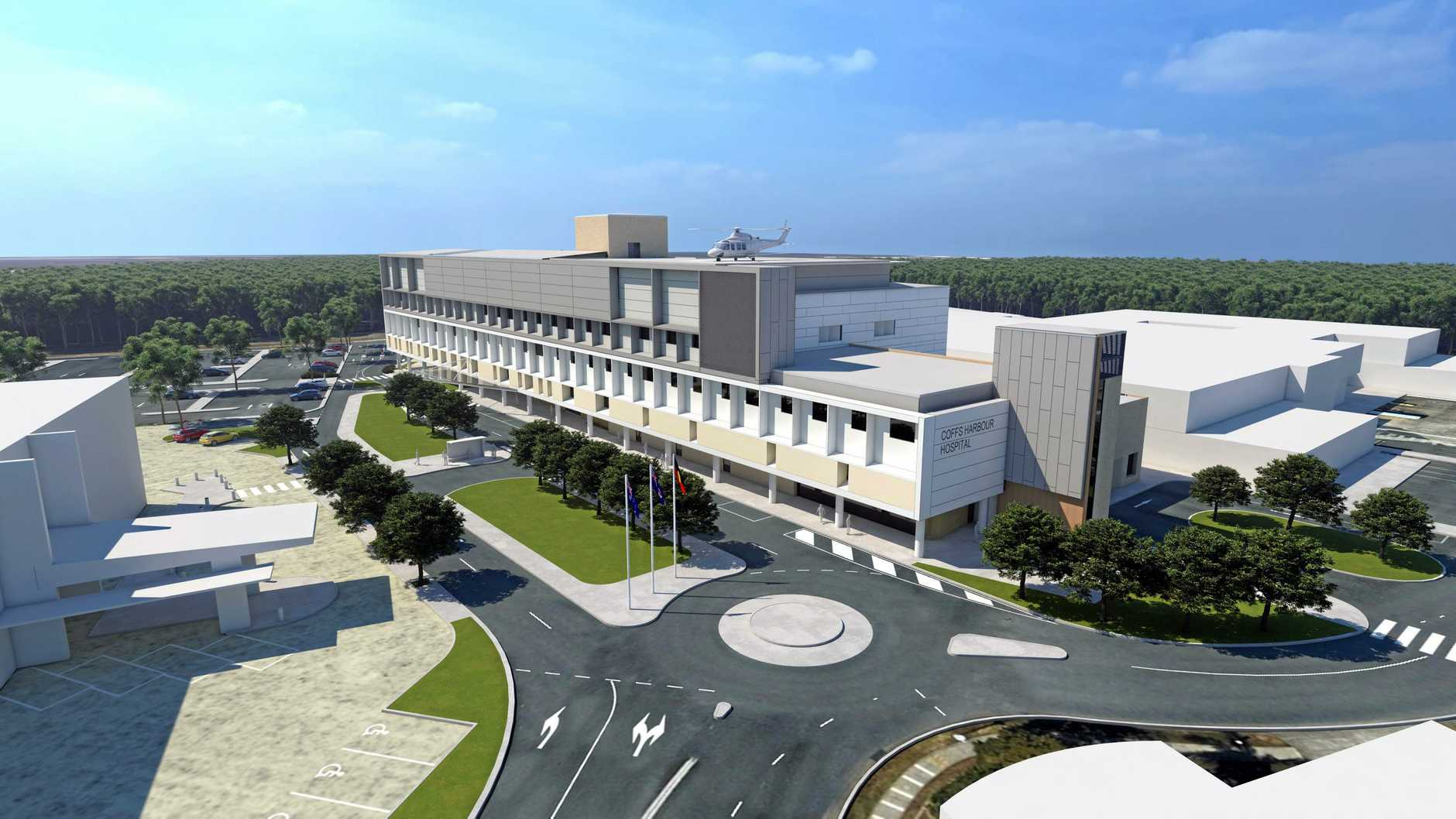 An artist's impression of the planned $116 million upgrade of the Coffs Harbour Health Campus.