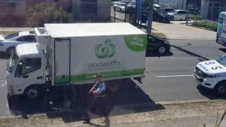 The Woolworths van at the stabbing scene in Rockdale. Picture: Instagram user @color_me_beautiful_by_jain