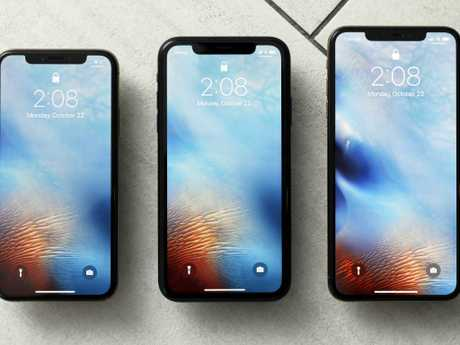 The iPhone XS, from left, iPhone XR, and the iPhone XS Max in New York. Picture: AP