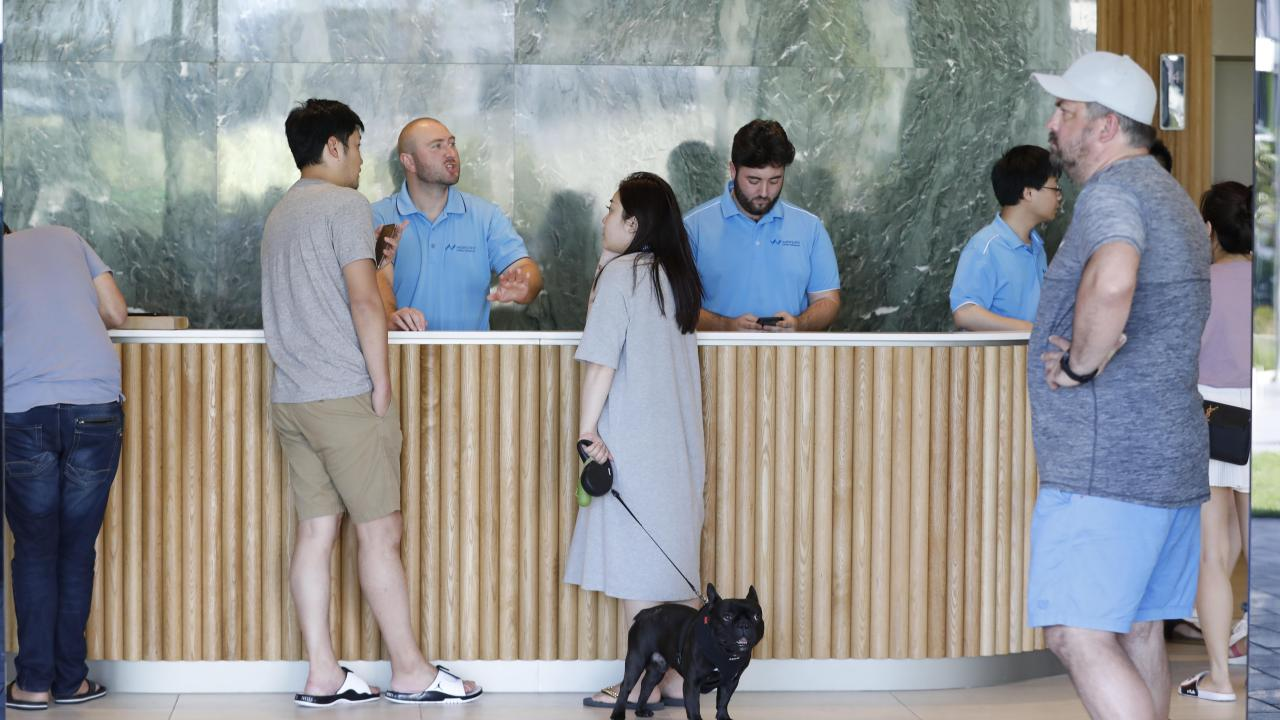 Residents of the Opal Tower at Olympic Park have a meeting with Opal Executives. Picture Chris Pavlich