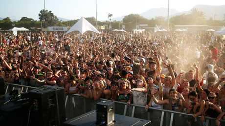 A large crowd at the Grass is Greener music festival in Queensland. Picture: Brendan Radke