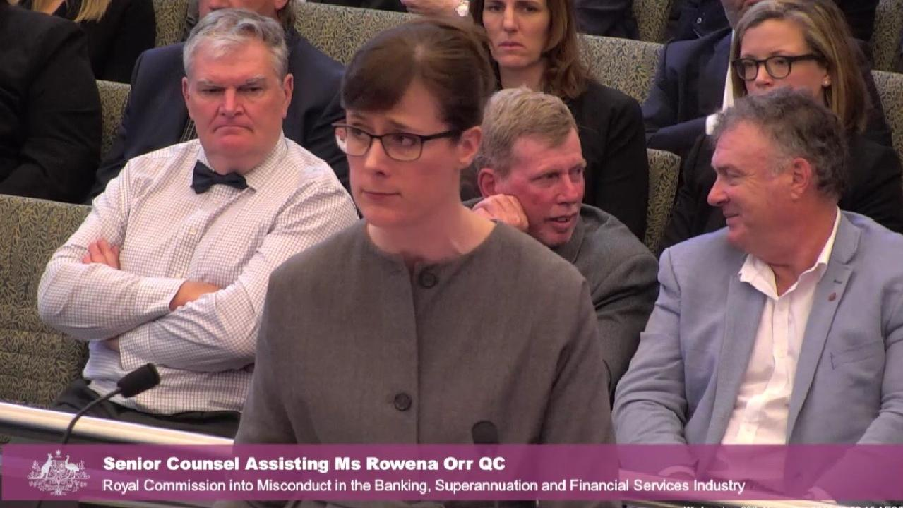 An unimpressed Rowena Orr QC at the banking royal commission. Picture: Supplied