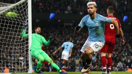 Aguero scores the first goal