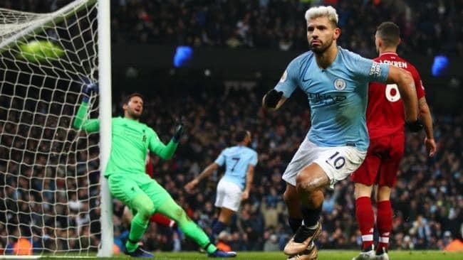 Sergio Aguero celebrates his goal against Liverpool.