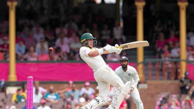 Marcus Harris hits a boundary on day three of the fourth Test match between Australia and India at the SCG. Picture: Steve Christo/AAP