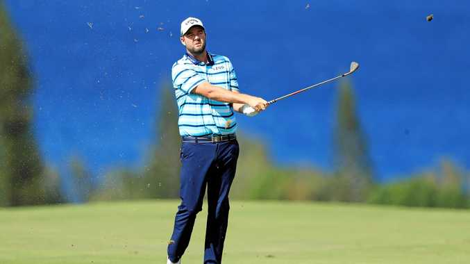 Marc Leishman plays a shot on the fourth hole during the second round of the Tournament of Champions at the Plantation Course at Kapalua Golf Club on Lahaina, Hawaii. Picture: Sam Greenwood/Getty Images