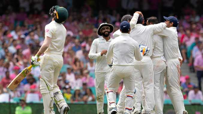 India celebrates the wicket of Australia's Marnus Labuschagne, out caught by Ajinkya Rahane off the bowling of Mohammed Shami on day three of the fourth Test at the SCG. Picture: Steve Christo/AAP