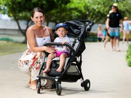 Mum Nicole De Valter, 32, from Bilambil Heights with baby Indiana. Picture: Nigel Hallett
