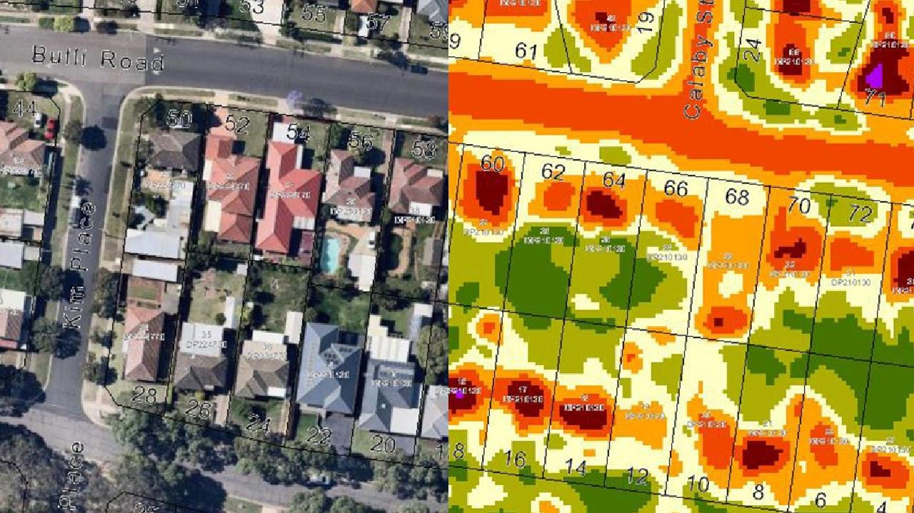 Parramatta council thermal imaging of the difference in heat on two parallel streets — one with trees, one without.