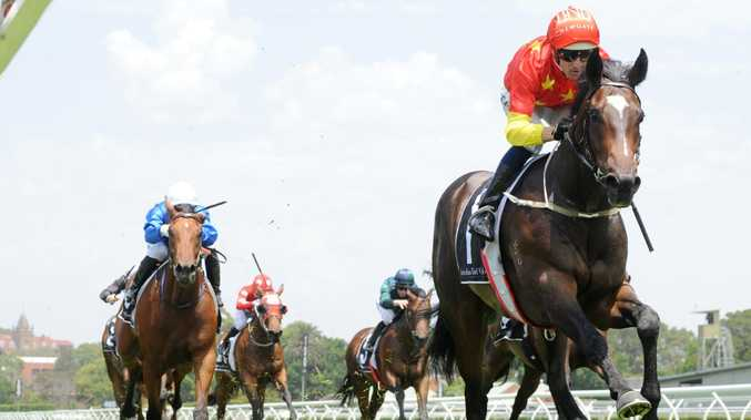 Jockey Hugh Bowman rides Hightail to victory on Saturday at Randwick's Kensington track. Picture: Simon Bullard