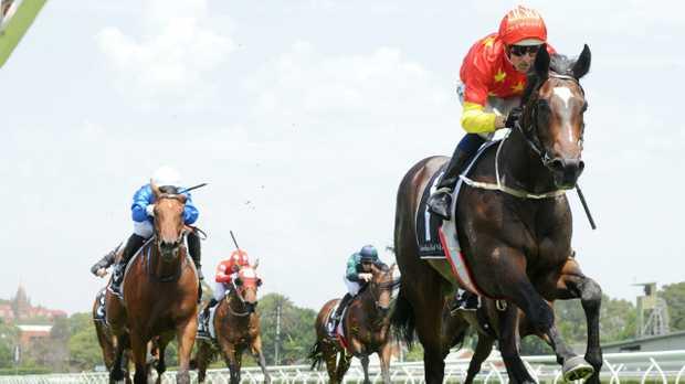 Jockey Hugh Bowman rides Hightail to victory on Saturday at Randwick's Kensington track. Picture: Simon Bullard