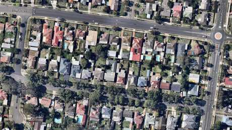 A Google Maps image of two streets in the Parramatta council area in western Sydney, one with trees, one without.