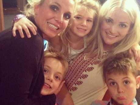 Britney Spears with niece Maddie, sons Sean and Jayden and sister Jamie Lynn Spears. Picture: Instagram