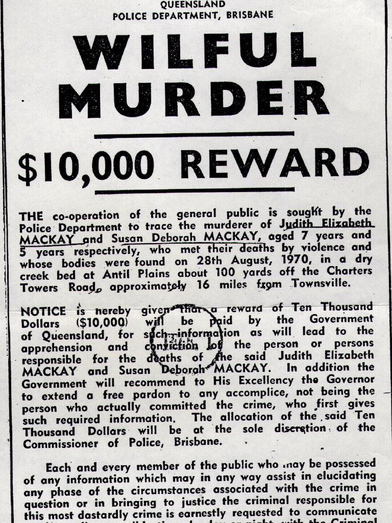 Poster offering $10,000 reward for assisting police in solving 1970 murders of sisters Judith & Susan Mackay.