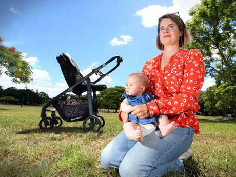 Aileen Burns with her daughter Hilma in New Farm Park. Picture: Jamie Hanson