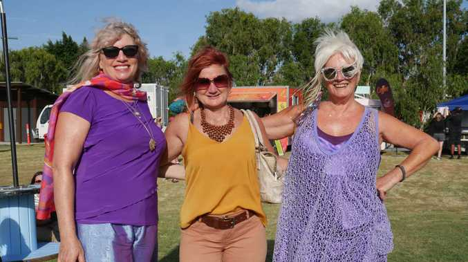First ever Food and Groove Fridays on January 4 at City Park in Pialba - Cheryl Virgo, Jenny Russell and Bindi Gleeson.