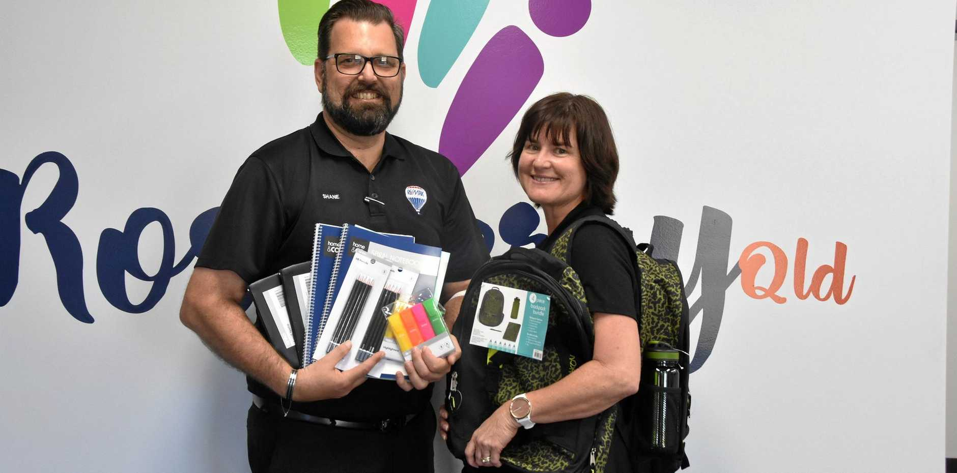 SCHOOL SUPPLIES: Remax Gold principal Shane McLeod and Roseberry Qld business support officer Leanne Donovan have kicked off the 2019 Back To School Supply Drive.
