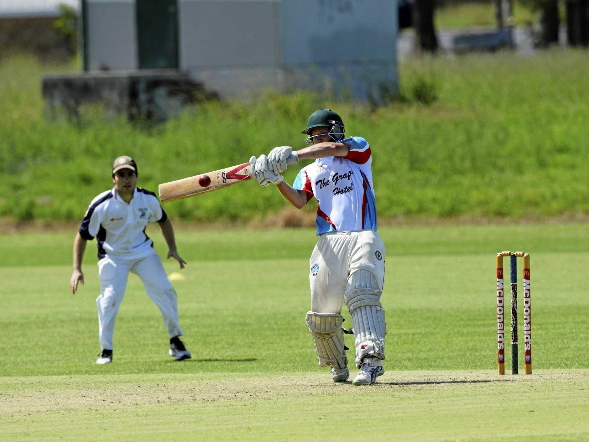 HIT OUT OR GET OUT: Trent Statham launches into a pull shot for the Colts on Saturday.