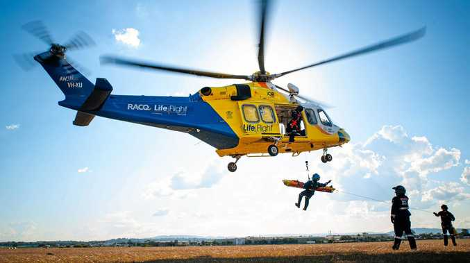 FLIGHT: RACQ LifeFlight Rescue helicopter crews helped a woman hit by a boulder in Gympie.