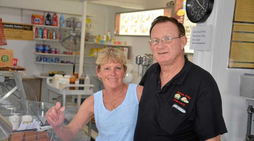 Helena and Neil Parfitt behind the counter of their new business, Glennie Heights Store.