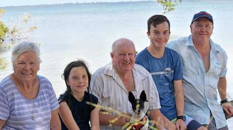 PURVIS CLAN: Grandparents up from Gippsland, Victoria, Alida (left) and husband Reg, with their Gympie family Kyiah, Flynn and Mick Purvis.