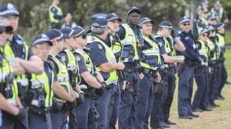 Police prepare for signs of violence. Picture: Wayne Taylor