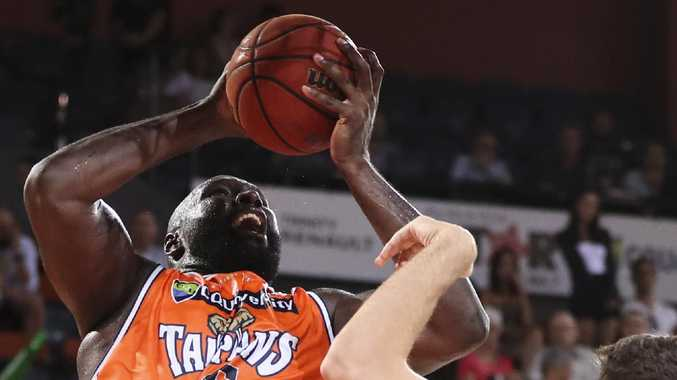 Nate Jawai if the Cairns Taipans drives to the basket during the Round 12 NBL match between the Cairns Taipans and the Brisbane Bullets at the Cairns Convention Centre in Cairns, Thursday, January 3, 2019. (AAP Image/Dave Acree) NO ARCHIVING, EDITORIAL USE ONLY