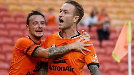 Adam Taggart put Brisbane on the front foot. (AAP Image/Glenn Hunt)