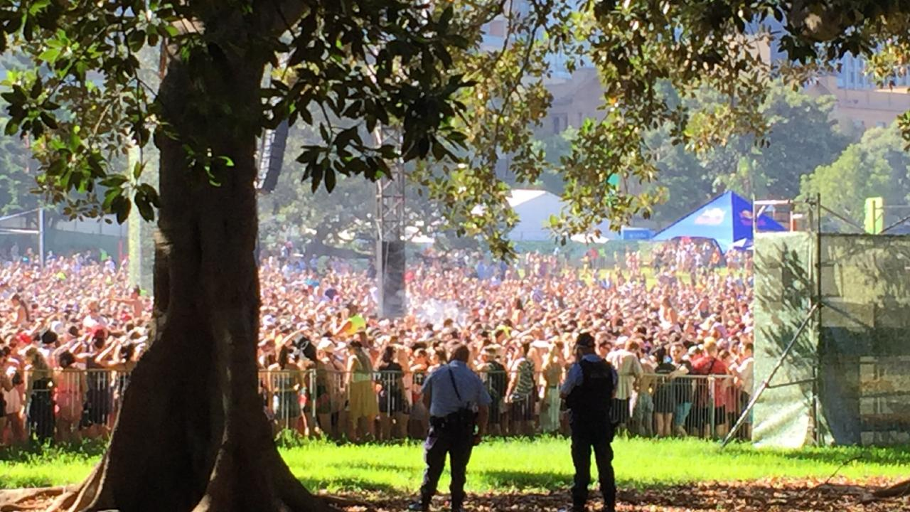 A picture from inside the grounds of the 2019 Field Day music festival held in The Domain  on New Year's Day. Picture: Derrick Krusche