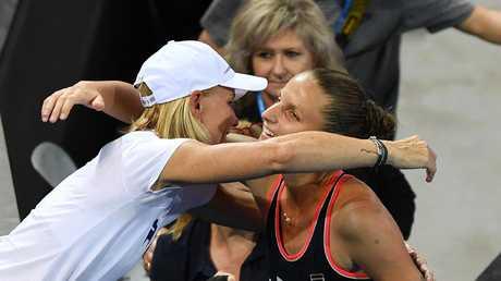 Karolina Pliskova hugs coach Rennae Stubbs. Picture: AAP