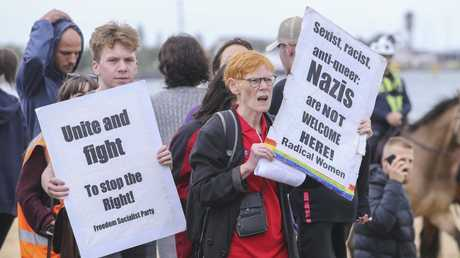 Supporters of the Campaign Against Racism and Fascism counter-protested the rally. Picture: Wayne Taylor