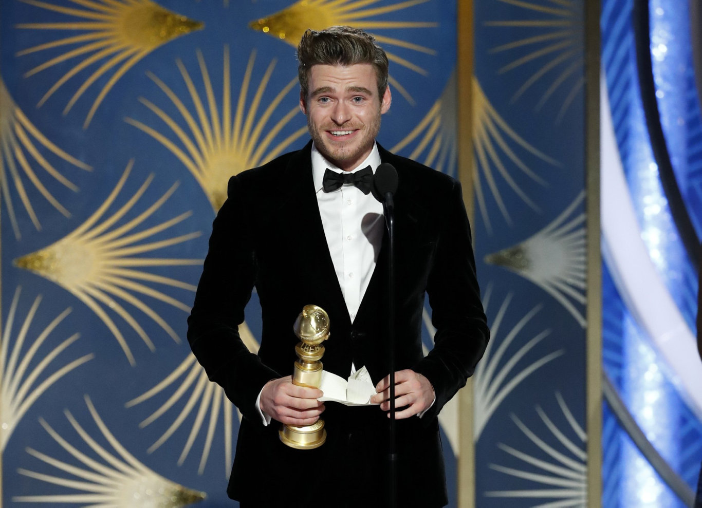 Richard Madden accepting the award for best actor in a TV drama series for his role in