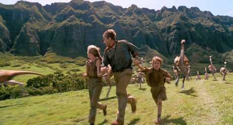 From left, Ariana Richards, Sam Neill and Joseph Mazzello in a scene from the movie Jurassic Park.