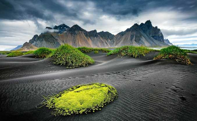 VESTRAHORN BEACH: Iceland's great wind rippled beach black sand.